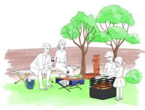 焚き火を楽しむ家族のイラスト