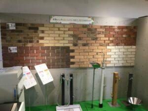 壁面装飾材と立水栓の展示